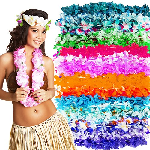 - Hawaiian Leis Luau Party Supplies - Bulk 50 Pack Flower Necklaces for Tropical Party Favors Decorations - Colorful Variety of Simulated Silk Floral Lei Beach Theme Parties Kit