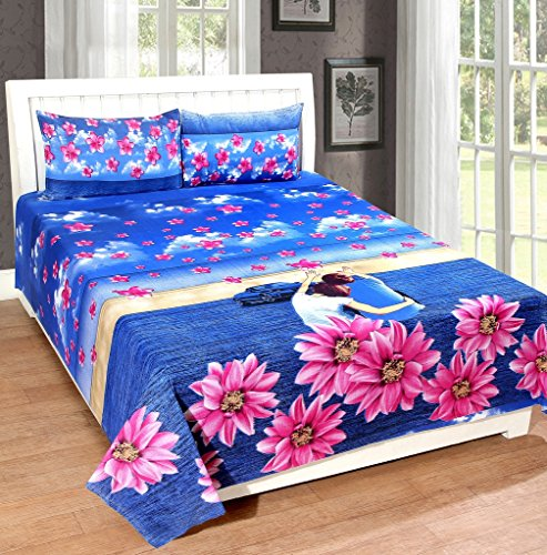 Homefab India 140 TC 3D 100 % Cotton Double BedSheet with 2 Pillow Cover – Multicolor