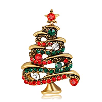 lifepavilion vintage christmas tree shiny brooch pin corsage ornaments fashion jewelry gifts decoration - Vintage Christmas Gifts