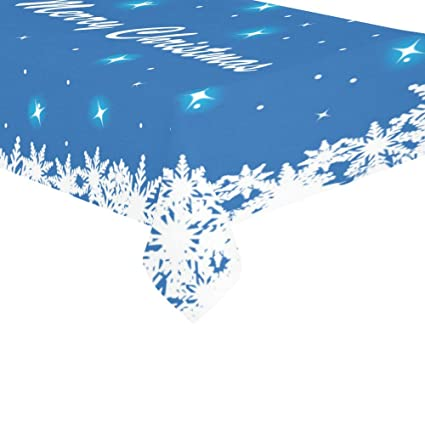 InterestPrint Home Table Decor Merry Christmas Snowflake Cotton Linen  Tablecloth Sets 60 X 104 Inches - Glitter Snowflake Best Gifts Table Cloth  Cover