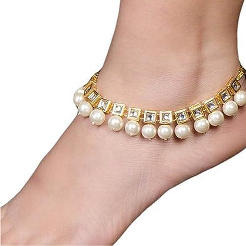 nuovo stile anteprima di miglior fornitore Tradizionale indiano kundan sposa tono oro cavigliera Payal ...