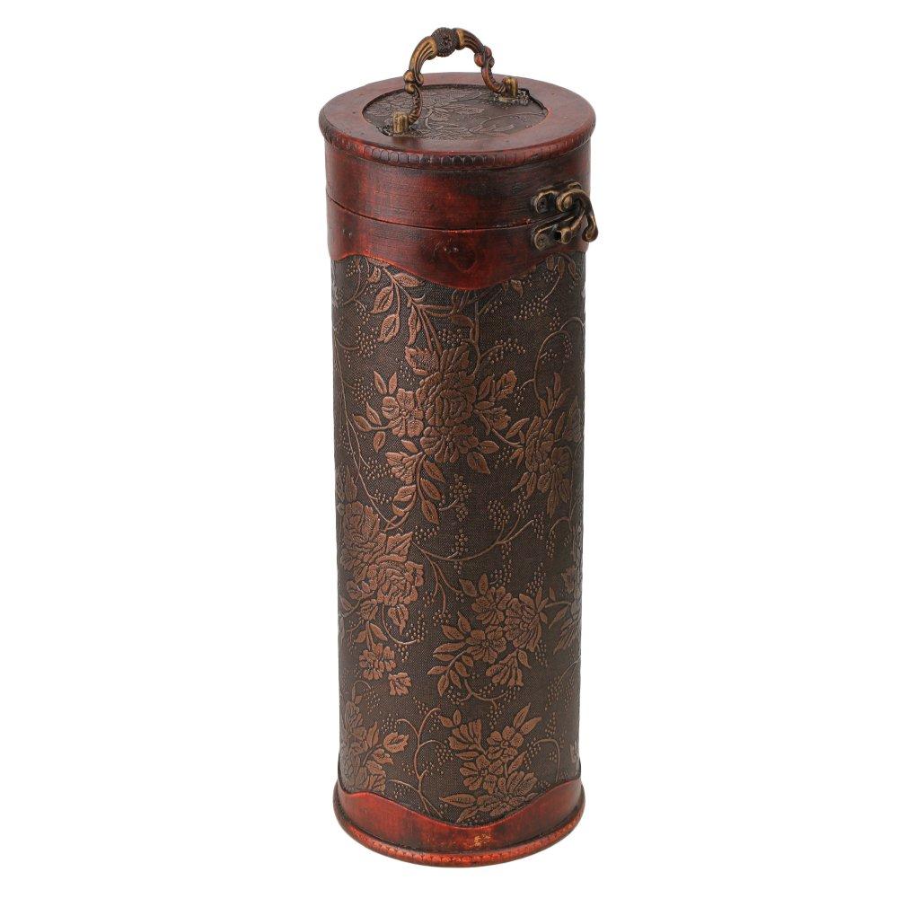 De madera redonda BQLZR Retro de botellas de vino Caja para botella de vino Funda para: Amazon.es: Hogar