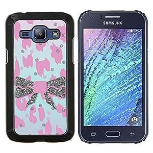 Eason Shop / Premium SLIM PC / Aliminium Casa Carcasa Funda Case Bandera Cover - Patrón de piel rosado del leopardo de Bowtie - For Samsung Galaxy J1 J100