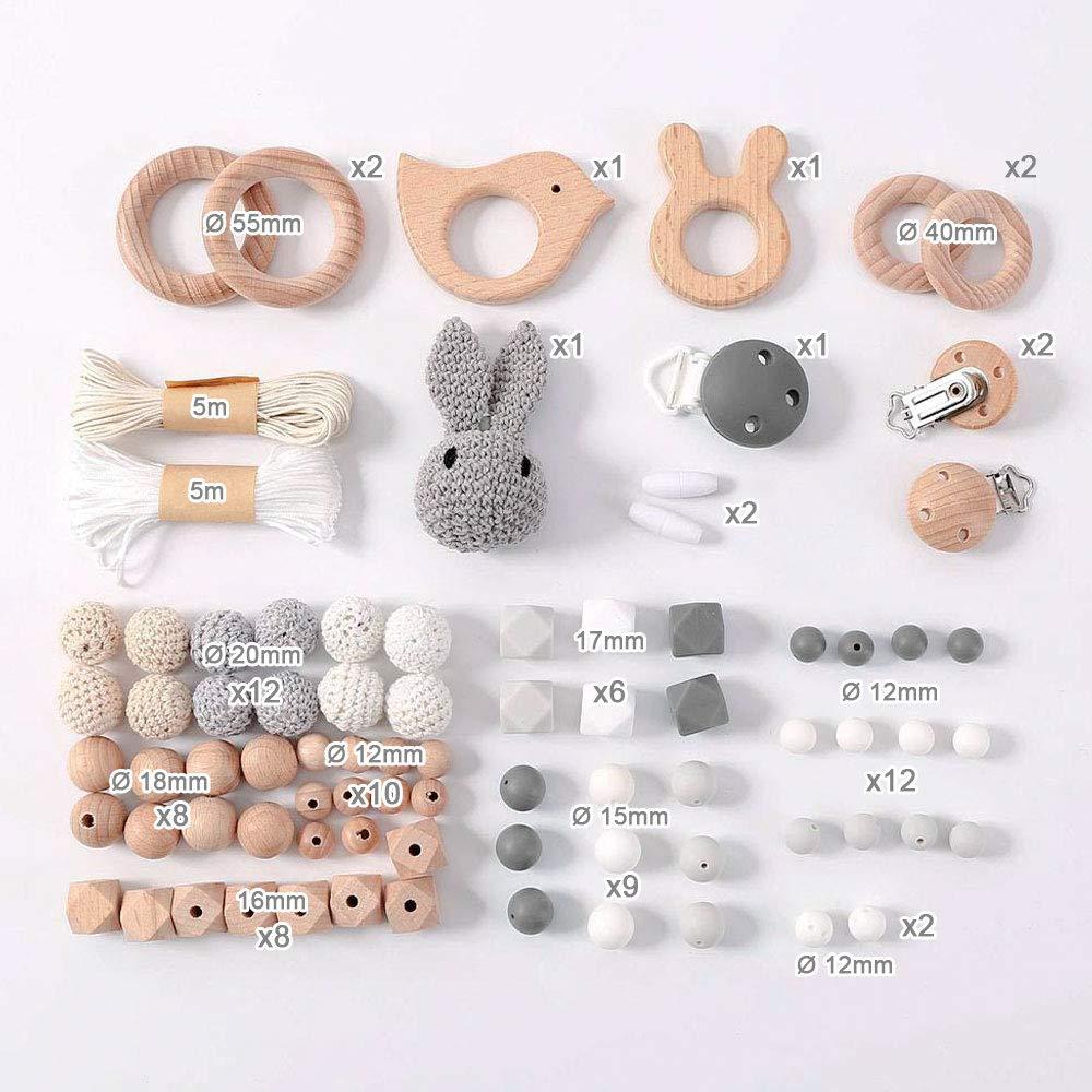 BIG BOX//PINK DIY Silikonperlen Schnullerkette,Baby Spielzeug Zahnen Silikon,Und Kaninchen,Perlen Bei/ßring,Silikon-Perlen-Kit,F/ünfzackige Stern-Clip,Holzperlen,Kinderkrankheiten Halskette Armband