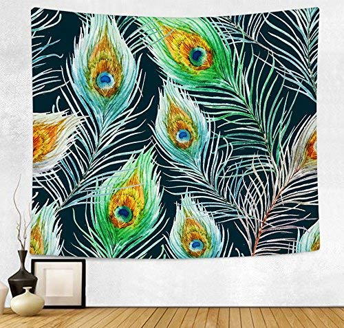 HAOCOO Mandala Bohemian Tapestry Wall Hanging Tapestries Indian Hippie Wall Decor Blanket Boho Bedspread for Bedroom Living Room Dorm Accessories (51 x 60 Inch, Peacock Feather)