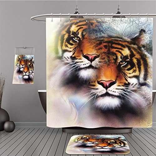 Uhoo Bathroom Suits & Shower Curtains Floor Mats And Bath Towels 350471252 tiger collage on color abstract background and mandala with ornamet , wildlife animals. Brown, orange, black and white color by UHOO