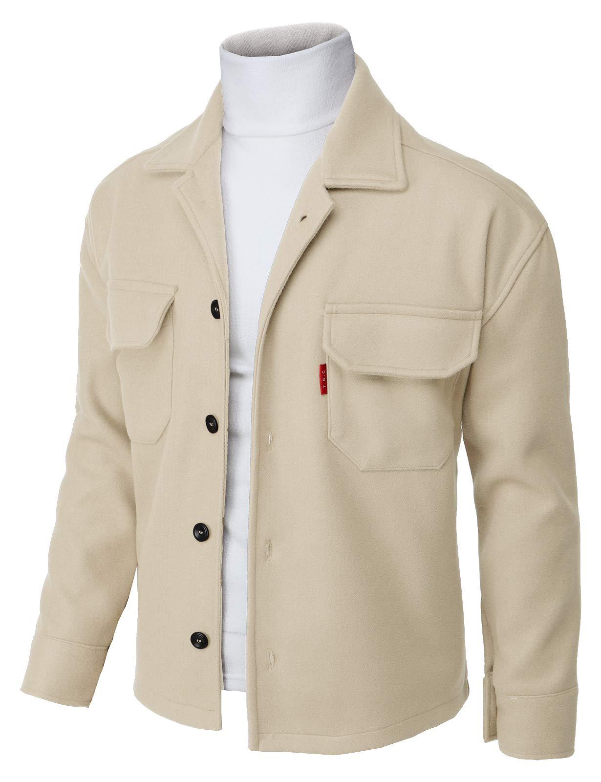 H2H Men's Fleece Trucker Jacket Beige US S/Asia M (KMOJA417) by H2H