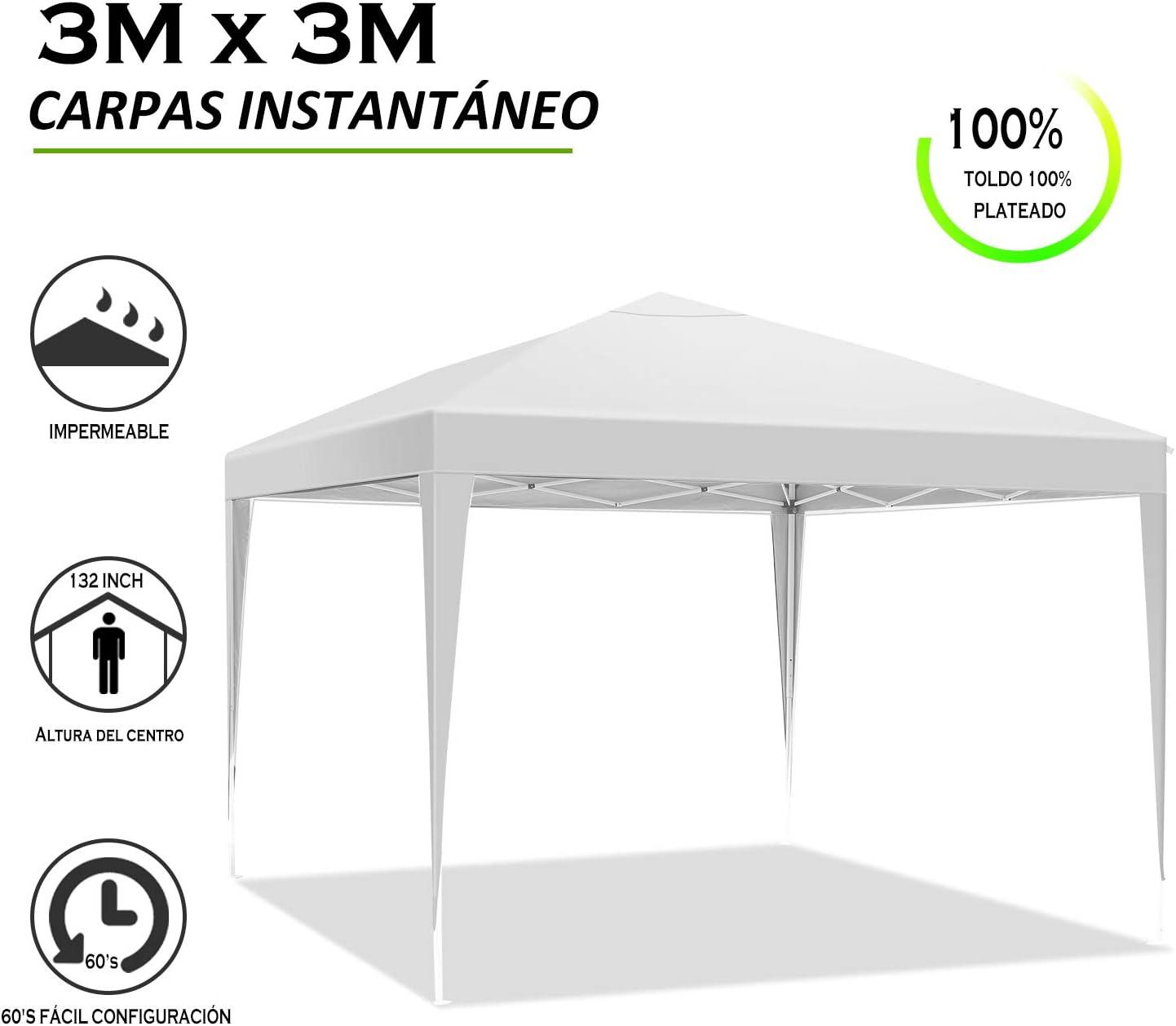 YUEBO Carpa 3x3 m Carpas Plegables Impermeables Gazebo Plegable Cenador Plegable Camping Cenadores para Jardin ...