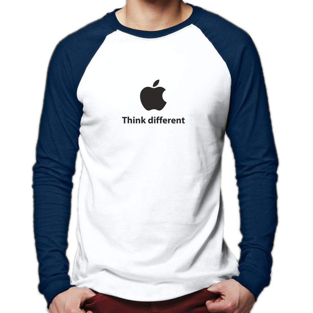 Apple Think Different Baseball T-Shirt Long Sleeve Vintage Tee Top