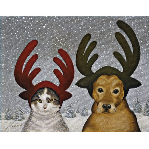 UPC 739744147237, Lang 5.375 x 6.875 Inches Perfect Squeeky Ashby and Lucy Zirbel Boxed Christmas Card, 18 Cards with 19 Envelopes (1004737)