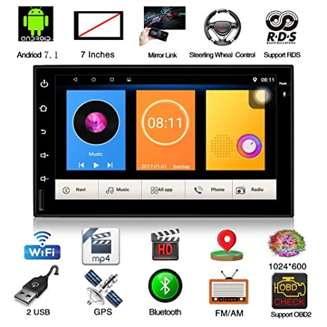"7/"" Double 2 Din Car GPS Navigation MP5 MP3 Radio Player No-DVD//CD Bluetooth UK"