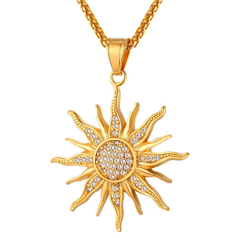 U7 Brand 2017 Big Flower Charm Necklace Rhinestone Crystal 18K Gold Plated Chain & Big Sun Flower Pendant Women/Men