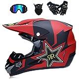 NOMEN Casco de Motocross para Adultos Casco de Moto MX Casco ATV Scooter ATV Casco D.O.T Certificado Rockstar máscara de Guantes de Gafas