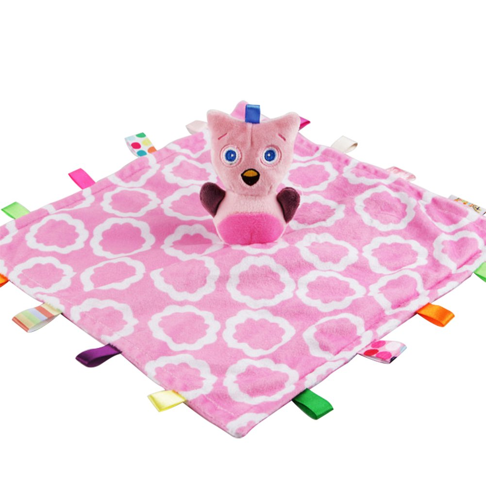 Inchant Taggies Security Blanket,Lovely Taggy Comforter Blanket Soft Touch Comforter Blanket With Taggies,Taggies Plush Toy For Baby Infant Tollder(Pink) Ecreate