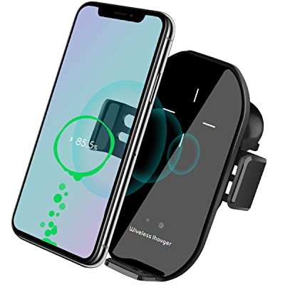 Wireless Car Charger Vent Mount, Automatic Clamping 10W/7.5W Fast Charging Air Vent for Car Compatible iPhone 11/11 Pro/11 Pro Max/Xs MAX/XS/XR/X/8/8+,Samsung S10/S10+/S9/S9+/S8/LG V30 (Black)