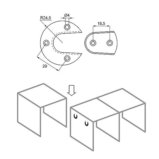 Tische M/öbelbeschlag von SO-TECH/® 8 x Verbindungsbeschlag schwarz /Ø 49 mm Korpusverbinder f/ür St/ühle