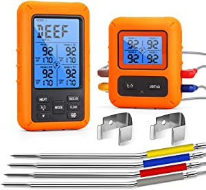 WHATOOK Wireless Meat Thermometer for Grilling Food Cooking Thermometer for Smoking with 4 Probes Digital Instant Read Thermometer for Smoker, Grill, Oven, BBQ