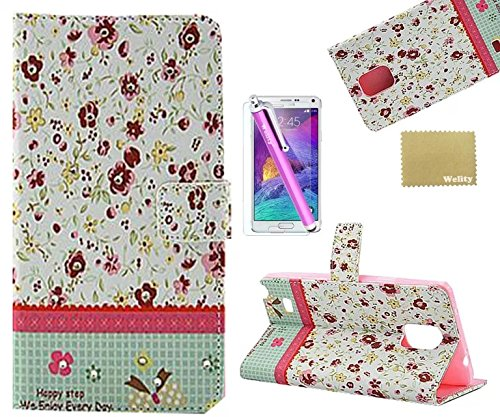 Note 4 Case,Galaxy Note 4 Case, Welity Flip Flower Leather Wallet Type Magnet Design Flip Case Cover Credit Card Holder Pouch Case for Samsung Galaxy Note 4 and one gift