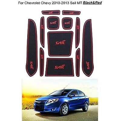 12pcs / Set Non-Slip Porte-gobelet Porte Rainure Porte Fente Pad Anti Slip Remplacement obscénités Chevrolet Sail 2010-2013 High-tech