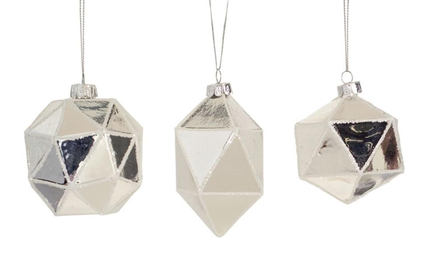 Club Pack of 24 Silver Geometric Shaped Ball, Drop and Onion Christmas Glass Ornament 4''