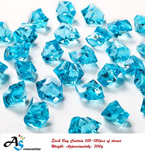 A&S Creavention Translucent Acrylic Ice Rocks Crystals Gems for Vase Fillers, Table Scatters, etc. 300g/Bag (Turquoise) (Translucent Vase Filler)