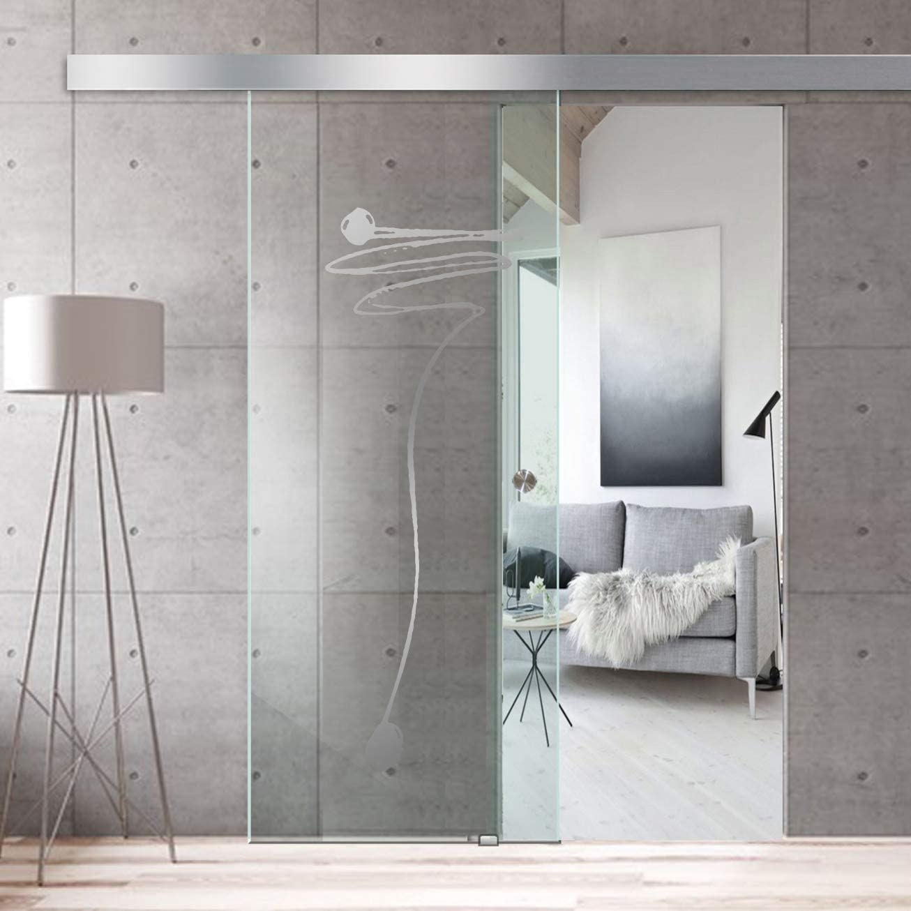 Modern Glass Art - Puerta de cristal deslizante para Boss de diseño interior - Cristal templado de seguridad de 8 mm de grosor, nano revestido, accesorios de acero inoxidable SS304, transparente: Amazon.es: