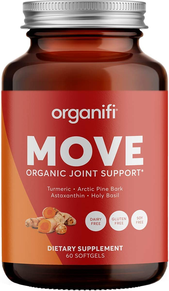 Organifi Move Organic Joint Support – 60 Softgels – Boosts Overall Joint Health and Immunity – with Superfoods Arctic Pine Bark, Astaxanthin, Holy Basil and Turmeric – Gluten-Free – No Soy or Dairy