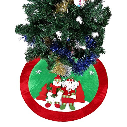 Ohuhu 36 Inch Santa Claus and Snowman and Christmas Tree Skirt