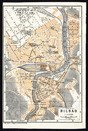 Antiguo ThePrintsCollector mapa de España-Plan de Bilbao-Karl baedeker-1913: Amazon.es: Hogar