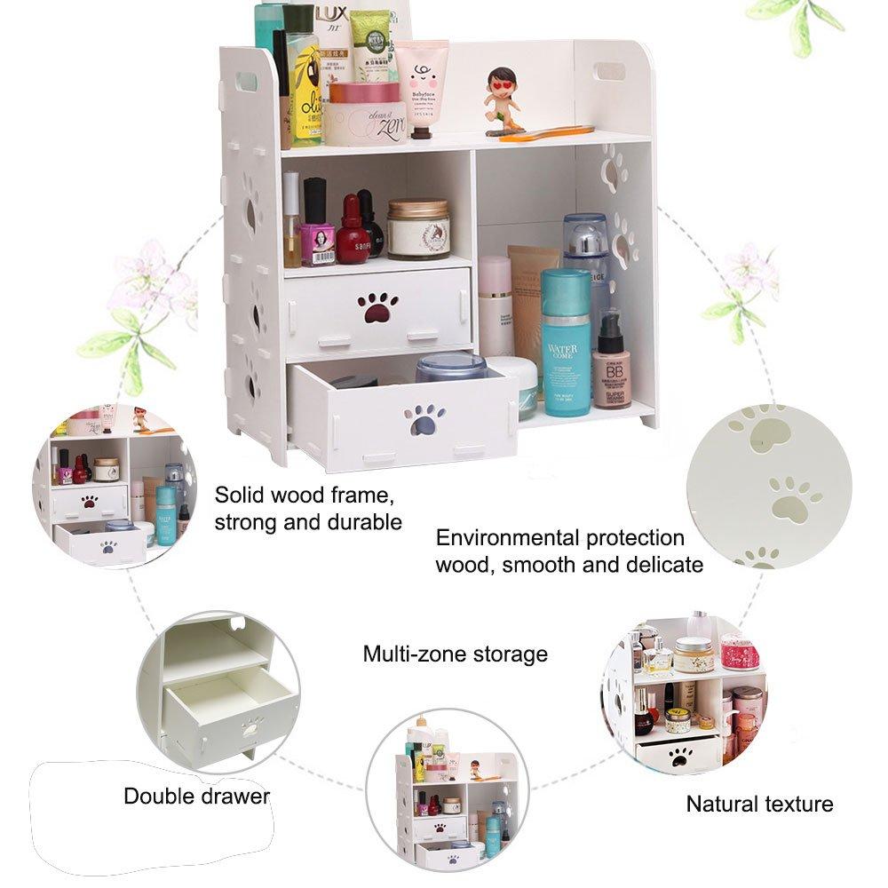Bizzoelife DIY Cosmetic Storage Box Desktop Waterproof Household Organizer with Drawers for Dresser Countertop