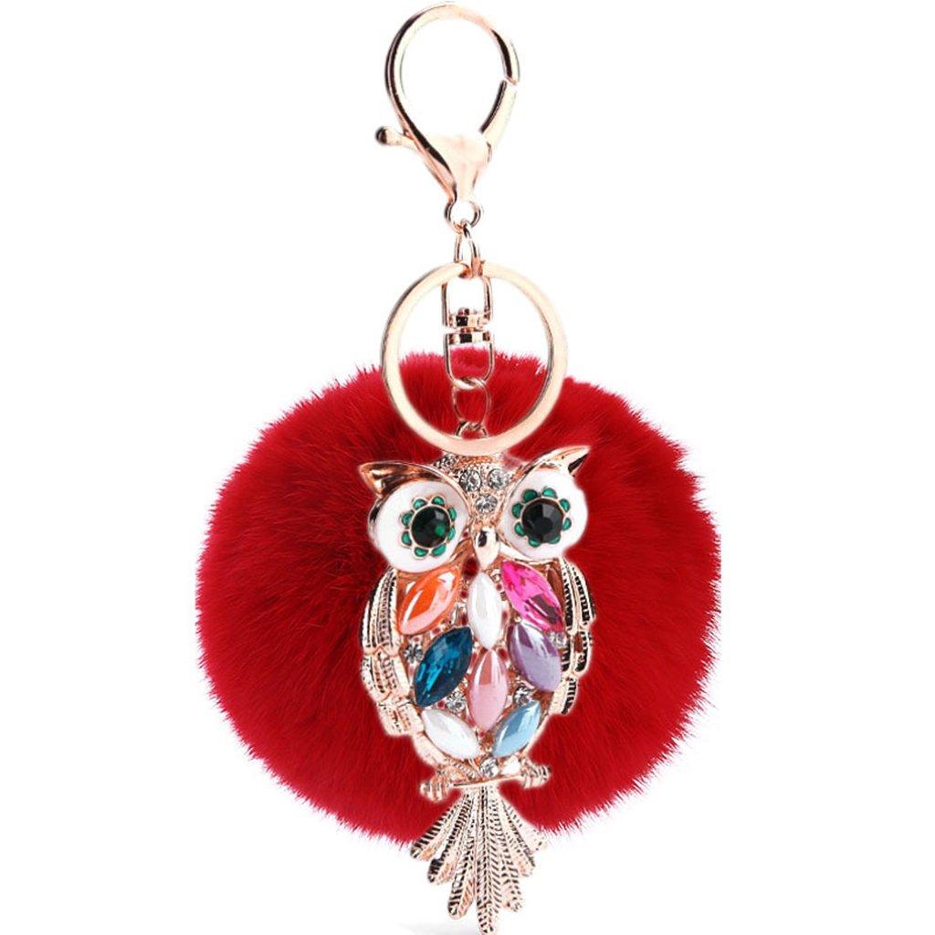 rose Mxixi couleur artificiel unie lapin boule de fourrure hibou pendentif porte-cl/és moelleux sac /à main charme cl/é anneau cl/é de voiture d/écoration