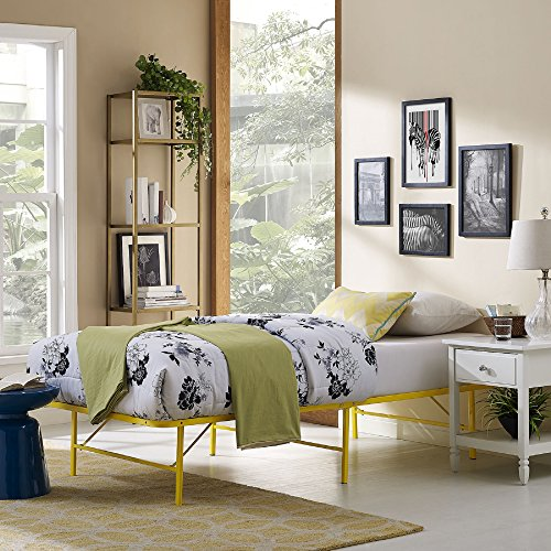 Modway Horizon Twin Bed Frame in Yellow - Replaces Box Sprin