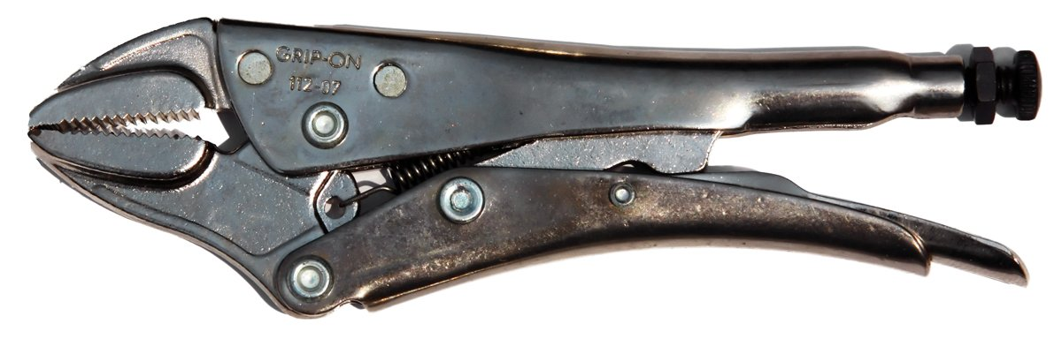Grip-On 112-07 7-Inch Straight Jaw Locking Pliers, Nickel-Plated