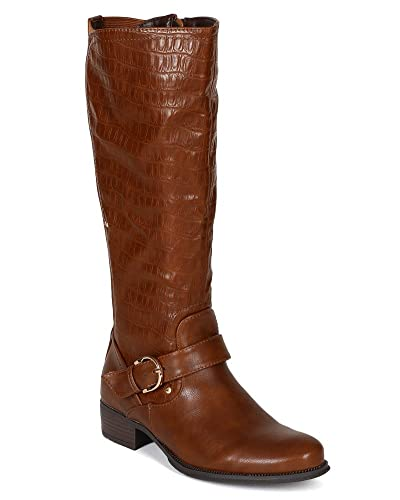 8b867955106 Wild Rose Women Leatherette Snake Almond Toe Riding Calf High Boot BE82 -  Brown Leatherette (