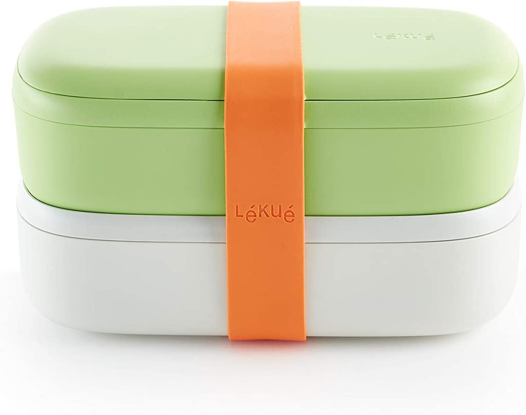 Lekue Citrus Fruit Lunchbox-To-Go Travel Container Set reusable lunchbag, 7.6 x 3.9 x 4.3inch