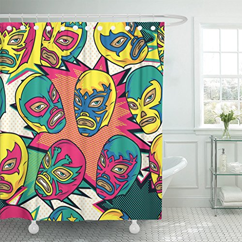 Emvency Shower Curtain Pattern Colorful Mexican Wrestler Luchador Color Pop Wrestling Latin Waterproof Polyester Fabric 60 x 72 inches Set with Hooks by Emvency