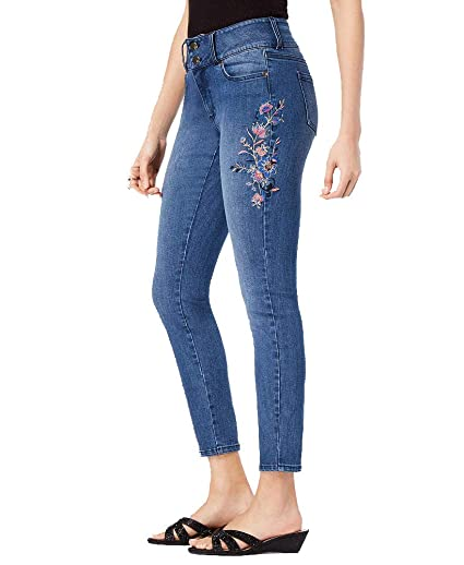 0673a545688b8 Thalia Sodi Embroidered Ankle Skinny Jeans (Dark Wash, 14) at Amazon  Women's Jeans store