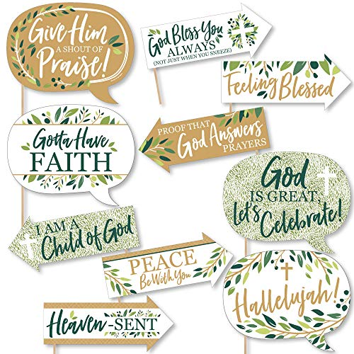 Funny Elegant Cross - Religious Party Photo Booth Props Kit - 10 Piece