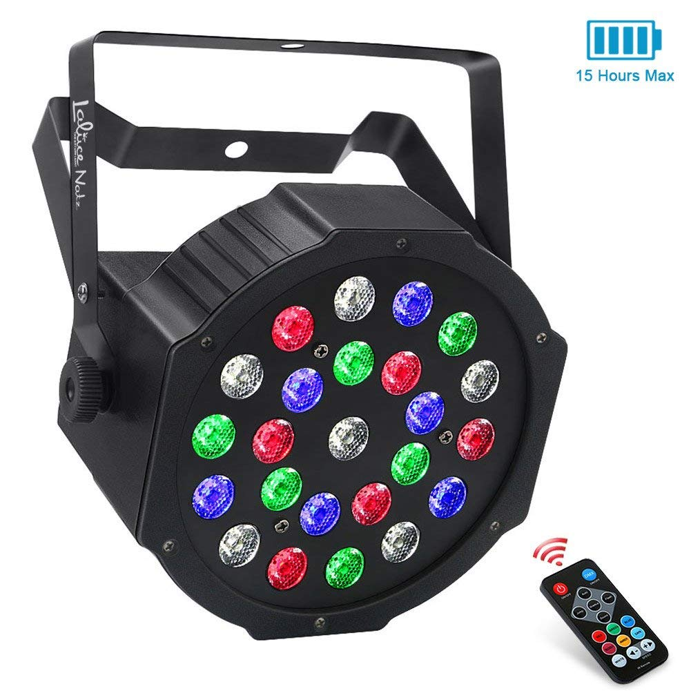LaluceNatz 24LEDs RGBW Battery Powered Wireless LED Par Lights for Stage Lighting with DMX512 and Remote Controlled for Wedding Up lighting DJ Lights by LaluceNatz