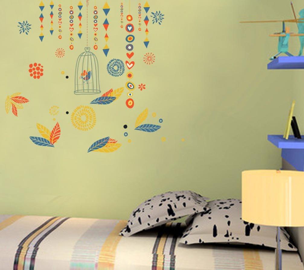 BIBITIME Black Vinyl Birdcage Wall Stickers Birds Vinyl Decal for Living Room Dining Room School Classroom Window Nursery Bedroom Children Kids Rooms Decor Home Art Murals