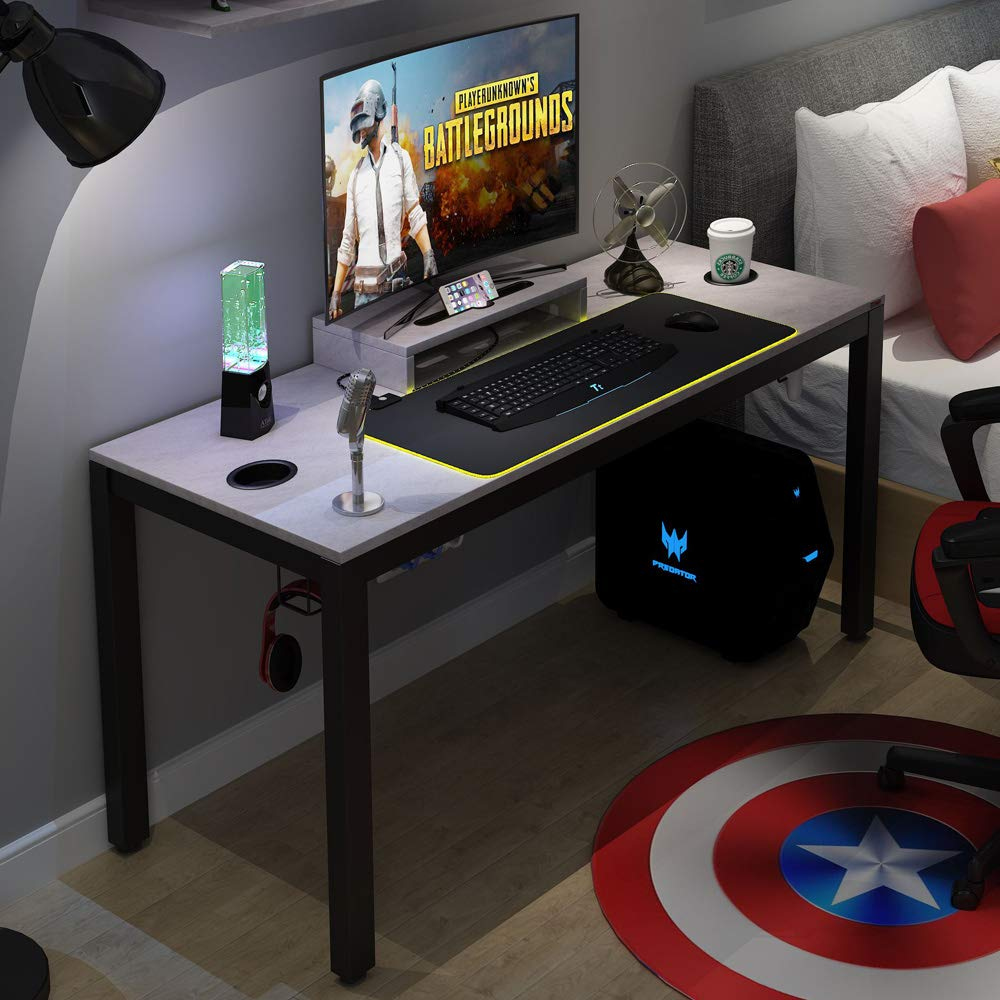 Need Gaming Desk All-in-one Gaming Computer Desk with RGB LED Soft Gaming Mouse Pad 60 Length for Big Guys AC14LB-Pro