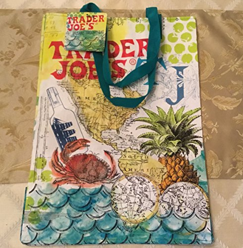 """Set of 3 Trader Joe's Reusable Eco Shopping Bags Totes """" Sailing the Culinary Seas"""" Collection the Graphics Are Beautiful Stand Out From the Rest !!!!"""