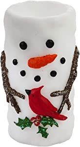 Cypress Home Beautiful Snowman and Friend LED Wax Pillar Candle Table Top Décor - 3 x 3 x 6 Inches Indoor/Outdoor Decoration for Homes, Yards and Gardens
