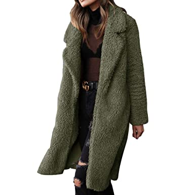 cafff29098c Womens Faux Fur Teddy Bear Long Knee Coat Solid Color Cozy Long Sleeve Open  Front Lapel
