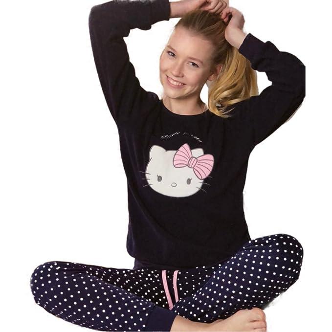 Pijama Mujer HELLO KITTY Coralina y Algodón MARINO (XL)
