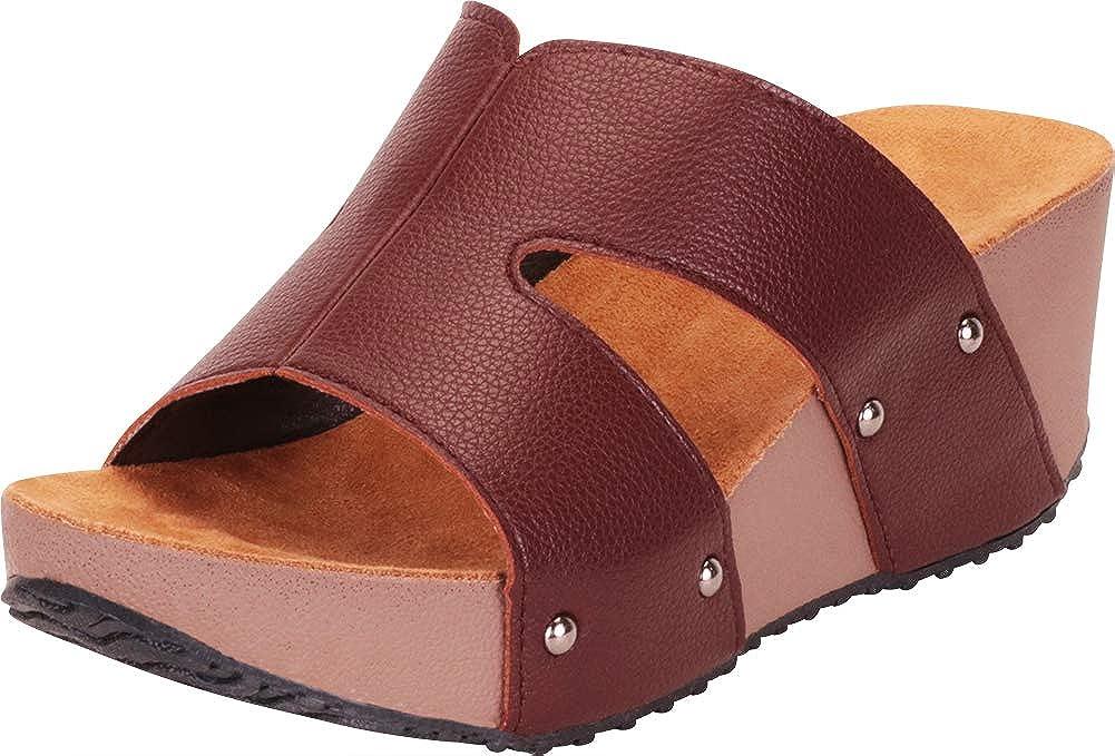 Chocolate Pu Cambridge Select Women's Open Toe Side Cutout Chunky Platform Wedge Slide Sandal