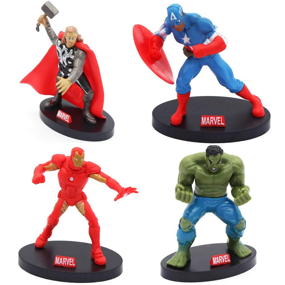 Cartoon The Avengers Cake Topper Exclusive Iron Man Hulk Thor Spiderman Captain America Hulkbuster 4 Figure Decoration