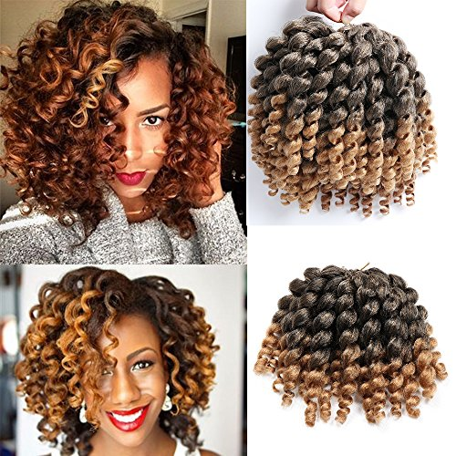 3 Packs Wand Curl Crochet Hair Synthetic Crochet Braids 8 Inch Jamaican Bounce Twist African Braiding Hair (T1B/27#) - Hair Ringlets