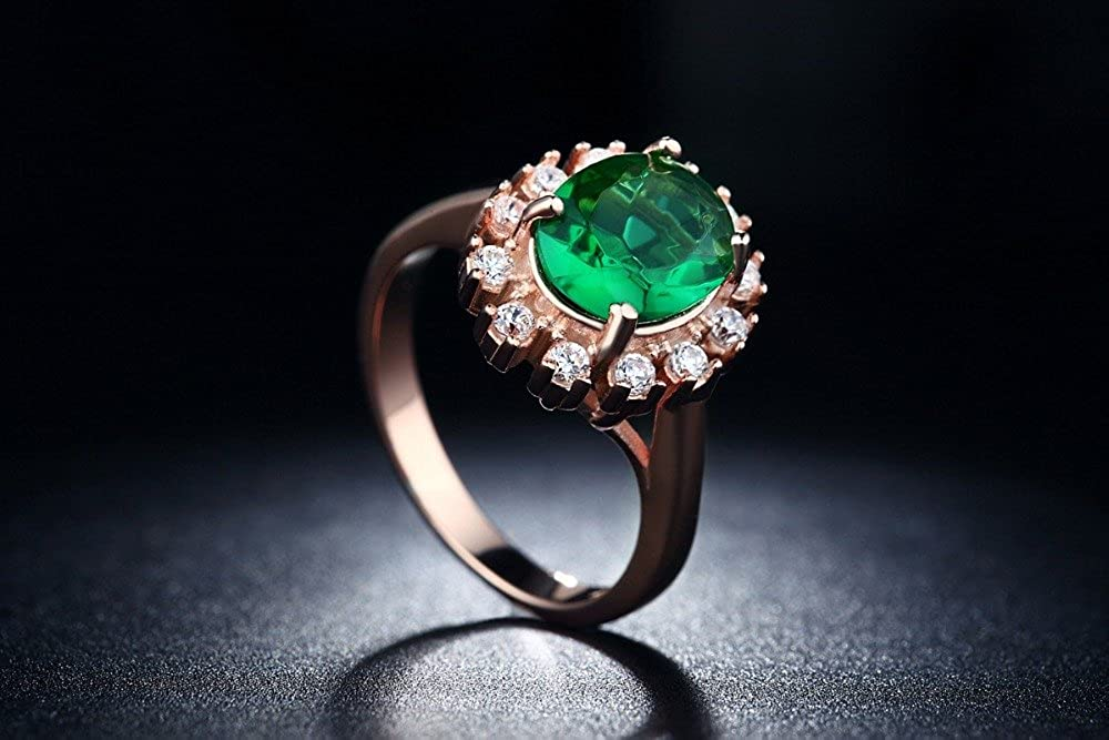 Cherryn Jewelry Rose Gold Plated Emerald Finger Ring Elegant wedding Jewelry zirconia engagement vintage Ring R013