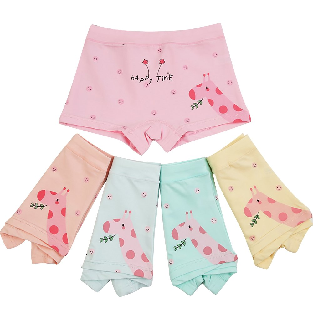 BOOPH Girls Underwear, 5-Pack Giraffe Panties Set Baby Toddler Briefs Boyshort for Little Girl 3-4 Year
